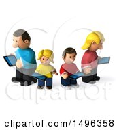 Clipart Of A 3d Casual White Family Using Tablets On A White Background Royalty Free Illustration