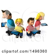 Clipart Of A 3d Casual White Family Using Tablets On A White Background Royalty Free Illustration by Julos