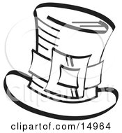 Leprechauns Tophat With A Buckle In Black And White Clipart Illustration by Andy Nortnik