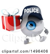 Poster, Art Print Of 3d Blue Police Eyeball Character On A White Background