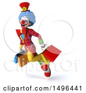 3d Colorful Clown On A White Background