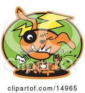 Orange Zombie Dog With Stitches And A Black Eye Itching Fleas Off Of Himself And Biting A Fishbone Clipart Illustration