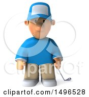 Clipart Of A 3d Jumping Golfer Toon Guy In A Blue Shirt On A White Background Royalty Free Illustration