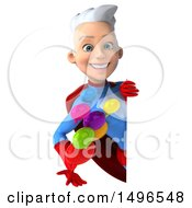 3d Young White Haired Caucasian Female Super Hero In A Blue And Red Suit Holding Messages On A White Background