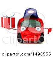 Poster, Art Print Of 3d Little Red Mechanic Car On A White Background