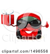 Poster, Art Print Of 3d Little Red Car On A White Background