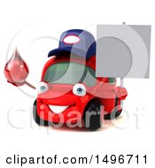 Clipart Of A 3d Little Red Mechanic Car On A White Background Royalty Free Illustration
