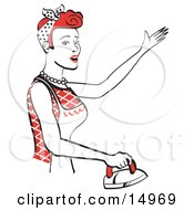 Red Haired Housewife Or Maid Woman Singing While Ironing Clothes And Doing The Laundry Clipart Illustration