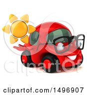 3d Little Red Car On A White Background
