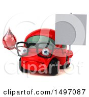 Clipart Of A 3d Little Red Car On A White Background Royalty Free Illustration