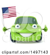 Clipart Of A Green 3d Porsche Character Holding An American Flag On A White Background Royalty Free Illustration