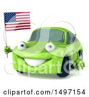 Poster, Art Print Of 3d Green Porsche Car On A White Background