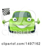 Clipart Of A 3d Green Porsche Car On A White Background Royalty Free Illustration