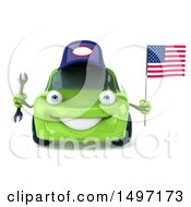 Poster, Art Print Of 3d Green Mechanic Porsche Car On A White Background