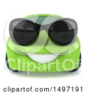 Clipart Of A 3d Green Porsche Car On A White Background Royalty Free Illustration by Julos