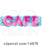 Vintage Pink And Blue Cafe Sign Clipart Illustration