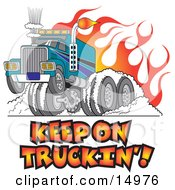Tough Big Rig Hot Rod Truck Flaming And Smoking Its Rear Tires Doing A Burnout In Flames And A Wheelie Clipart Illustration by Andy Nortnik #COLLC14976-0031