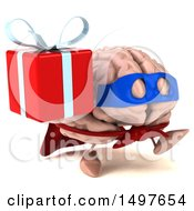 Poster, Art Print Of 3d Super Brain Character On A White Background