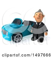 3d Short White Business Man With A Convertible Car On A White Background