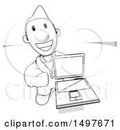Black And White Businessman Holding A Laptop