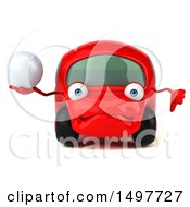 3d Red Car Holding A Golf Ball On A White Background