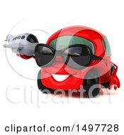 Clipart Of A 3d Red Car Holding A Plane On A White Background Royalty Free Illustration