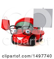 3d Red Car Holding A Shopping Bag On A White Background