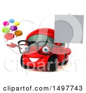 3d Red Car Holding Messages On A White Background
