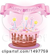 Clipart Of A Happy Birthday Banner Over A Cake Royalty Free Vector Illustration