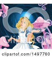 Clipart Of A Shrugging Alice With Mushrooms In The Rabbit Hole Royalty Free Vector Illustration by Pushkin