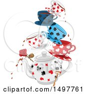 Clipart Of A Cart Suit Patterned Tea Pot With Cups And Saucers A Rose And Key Royalty Free Vector Illustration by Pushkin