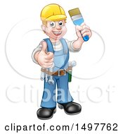 Clipart Of A Full Length Male Handy Man Holding A Paintbrush And Giving A Thumb Up Royalty Free Vector Illustration