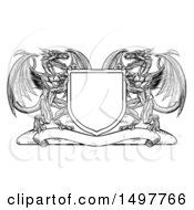 Clipart Of A Black And White Shield With Dragons Royalty Free Vector Illustration