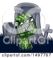 Clipart Of A Green Zombie Hand Holding A Horror Film Night Clapperboard In Front Of A Tombstone Royalty Free Vector Illustration by AtStockIllustration