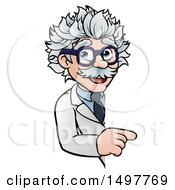 Clipart Of A Cartoon Senior Male Scientist Pointing Around A Sign Royalty Free Vector Illustration