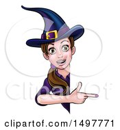 Clipart Of A Brunette Witch Pointing Around A Halloween Sign Royalty Free Vector Illustration by AtStockIllustration