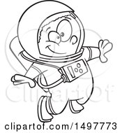Clipart Of A Cartoon African American Boy Astronaut Floating Black And White Royalty Free Vector Illustration by toonaday