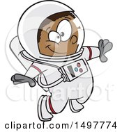 Cartoon African American Boy Astronaut Floating