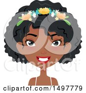 Clipart Of A Pretty African American Girl Wearing A Floral Crown In Her Hair Royalty Free Vector Illustration