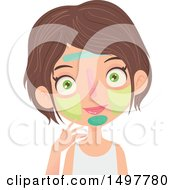 Clipart Of A Caucasian Girl With Multiple Facial Masks On Royalty Free Vector Illustration by Melisende Vector