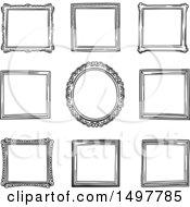 Clipart Of Sketched Frame Design Elements Royalty Free Vector Illustration