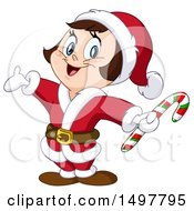 Clipart Of A Christmas Girl In A Santa Suit Royalty Free Vector Illustration