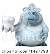 Poster, Art Print Of 3d White Monkey Yeti Holding A Tooth On A White Background