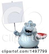 Poster, Art Print Of 3d White Monkey Yeti Holding A Steak On A White Background