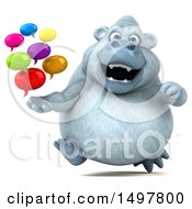 3d White Monkey Yeti Holding Messages On A White Background