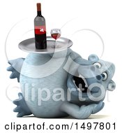 Poster, Art Print Of 3d White Monkey Yeti Holding A Wine Tray On A White Background