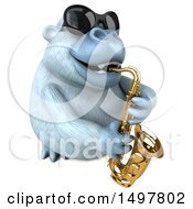 Poster, Art Print Of 3d White Monkey Yeti Playing A Saxophone On A White Background