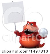 3d Red T Rex Dinosaur Holding A Golf Ball And Sign On A White Background