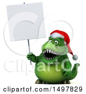 Clipart Of A 3d Green Christmas T Rex Dinosaur Holding A Blank Sign On A White Background Royalty Free Illustration