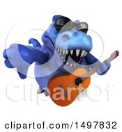 3d Blue T Rex Dinosaur Holding A Guitar On A White Background